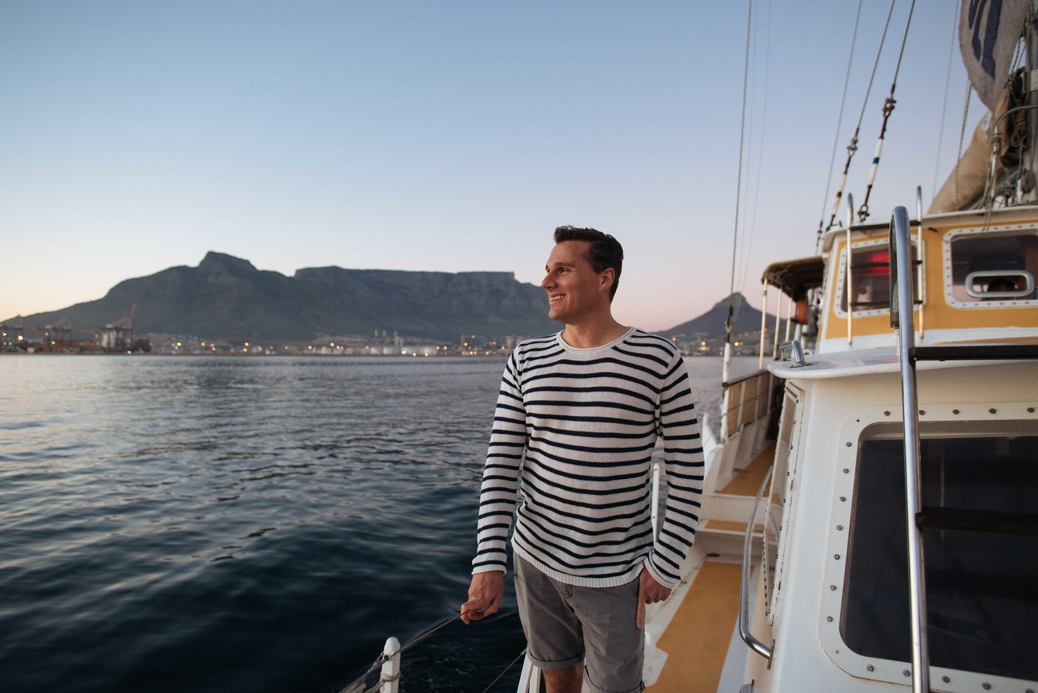 Hein on a yacht in Cape Town